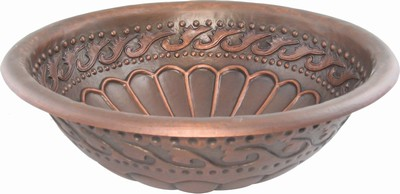Round Copper Bath Sink - Scoops/Swoops