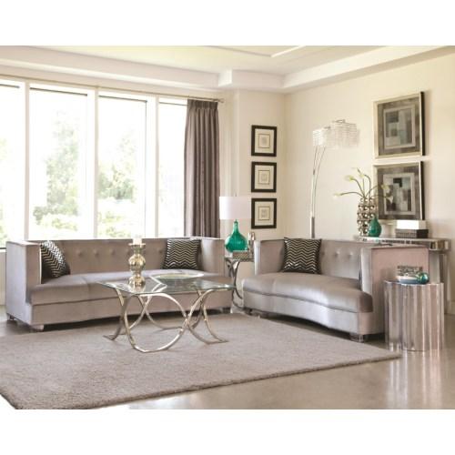 Furniture : Coaster (505881) Caldwell Silver Velvet 4 Piece Living ...